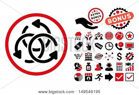 Knot Rotation pictograph with bonus symbols. Glyph illustration style is flat iconic bicolor symbols, intensive red and black colors, white background.