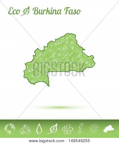 Burkina Faso Eco Map Filled With Green Pattern. Green Counrty Map With Ecology Concept Design Elemen