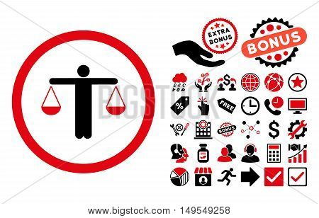Lawyer pictograph with bonus images. Glyph illustration style is flat iconic bicolor symbols, intensive red and black colors, white background.