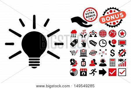 Light Bulb icon with bonus elements. Glyph illustration style is flat iconic bicolor symbols, intensive red and black colors, white background.