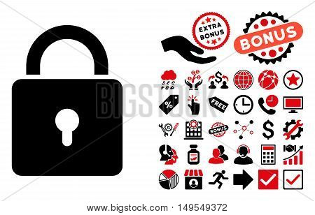 Lock pictograph with bonus pictures. Glyph illustration style is flat iconic bicolor symbols, intensive red and black colors, white background.