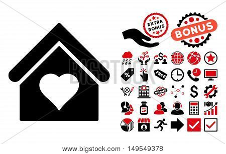 Love House pictograph with bonus pictogram. Glyph illustration style is flat iconic bicolor symbols, intensive red and black colors, white background.