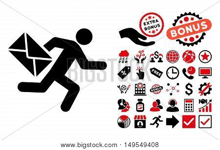 Mail Courier pictograph with bonus elements. Glyph illustration style is flat iconic bicolor symbols, intensive red and black colors, white background.