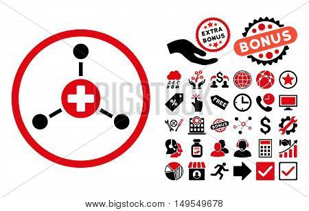 Medical Center pictograph with bonus pictograph collection. Glyph illustration style is flat iconic bicolor symbols, intensive red and black colors, white background.