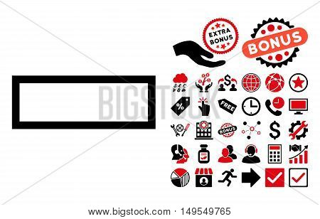 Minus icon with bonus images. Glyph illustration style is flat iconic bicolor symbols, intensive red and black colors, white background.