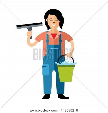 Girl with a bucket of water and a scraper. Isolated on a white background