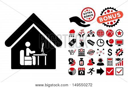 Office Room pictograph with bonus design elements. Glyph illustration style is flat iconic bicolor symbols, intensive red and black colors, white background.