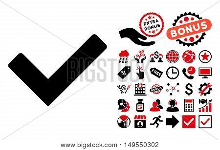 Ok icon with bonus design elements. Glyph illustration style is flat iconic bicolor symbols, intensive red and black colors, white background.