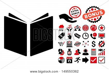 Open Book icon with bonus symbols. Glyph illustration style is flat iconic bicolor symbols, intensive red and black colors, white background.
