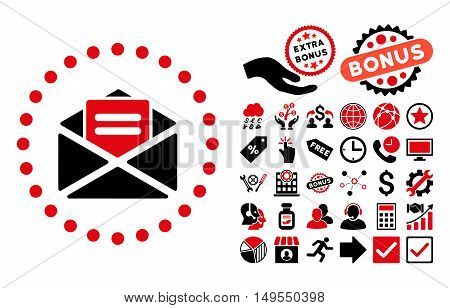 Open Mail icon with bonus clip art. Glyph illustration style is flat iconic bicolor symbols, intensive red and black colors, white background.