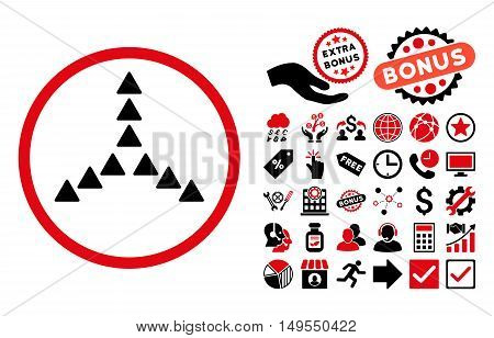 Outside Direction icon with bonus design elements. Glyph illustration style is flat iconic bicolor symbols, intensive red and black colors, white background.