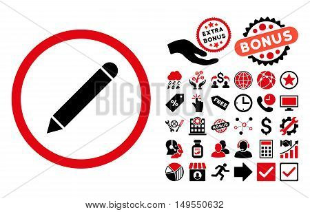 Pencil pictograph with bonus pictogram. Glyph illustration style is flat iconic bicolor symbols, intensive red and black colors, white background.