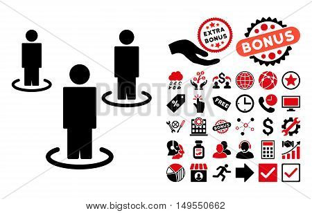 People pictograph with bonus design elements. Glyph illustration style is flat iconic bicolor symbols, intensive red and black colors, white background.