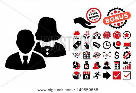 People icon with bonus images. Glyph illustration style is flat iconic bicolor symbols, intensive red and black colors, white background.