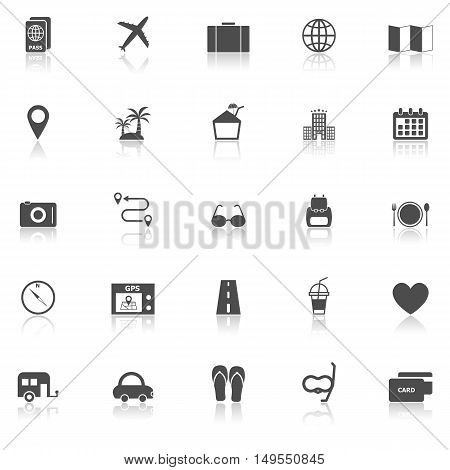 Trip icons with reflect on white background, stock vector