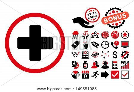 Plus pictograph with bonus elements. Glyph illustration style is flat iconic bicolor symbols, intensive red and black colors, white background.