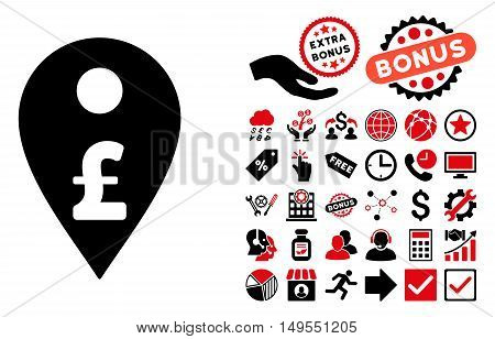 Pound Map Marker pictograph with bonus pictures. Glyph illustration style is flat iconic bicolor symbols, intensive red and black colors, white background.