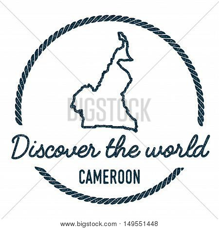 Cameroon Map Outline. Vintage Discover The World Rubber Stamp With Cameroon Map. Hipster Style Nauti