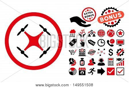 Quadcopter pictograph with bonus pictures. Glyph illustration style is flat iconic bicolor symbols, intensive red and black colors, white background.