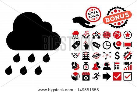 Rain Cloud icon with bonus design elements. Glyph illustration style is flat iconic bicolor symbols, intensive red and black colors, white background.