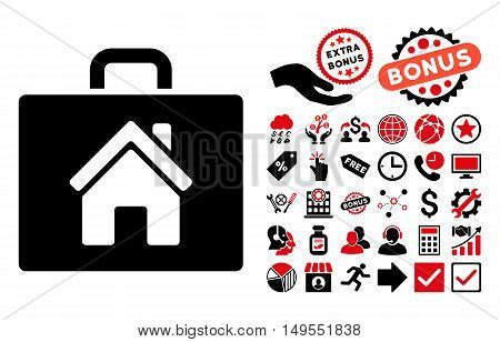 Realty Case icon with bonus pictogram. Glyph illustration style is flat iconic bicolor symbols, intensive red and black colors, white background.