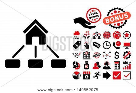 Realty Links icon with bonus symbols. Glyph illustration style is flat iconic bicolor symbols, intensive red and black colors, white background.