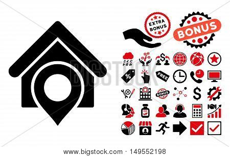 Realty Location icon with bonus pictograph collection. Glyph illustration style is flat iconic bicolor symbols, intensive red and black colors, white background.