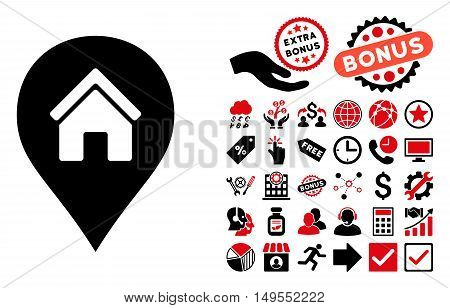 Realty Map Marker icon with bonus icon set. Glyph illustration style is flat iconic bicolor symbols, intensive red and black colors, white background.