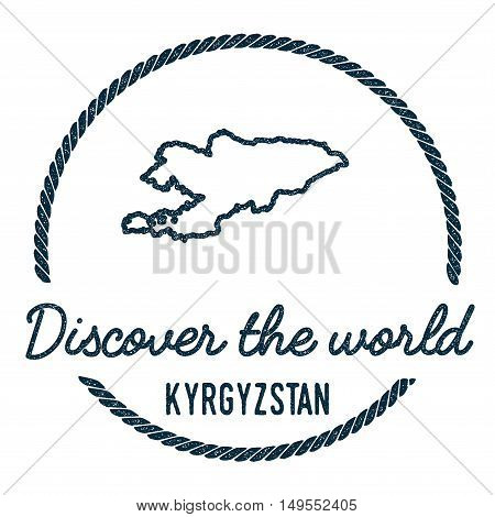 Kyrgyzstan Map Outline. Vintage Discover The World Rubber Stamp With Kyrgyzstan Map. Hipster Style N