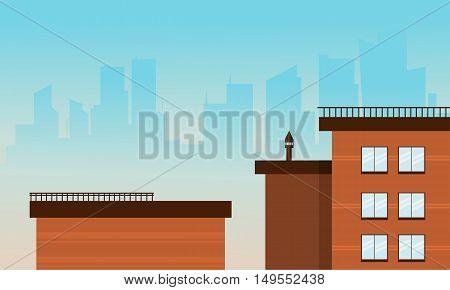 Flat cartoon style city buildings vector illustration