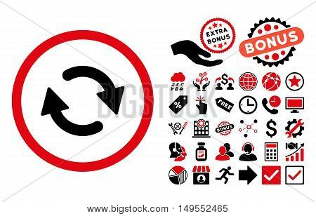 Refresh pictograph with bonus symbols. Glyph illustration style is flat iconic bicolor symbols, intensive red and black colors, white background.