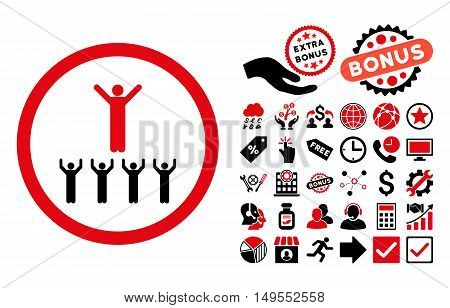 Religion Adepts pictograph with bonus pictures. Glyph illustration style is flat iconic bicolor symbols, intensive red and black colors, white background.