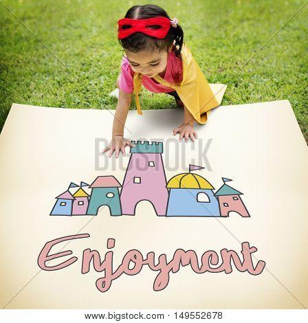 Children Enjoy Castle Joyful Concept