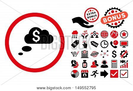 Richness Dream Clouds pictograph with bonus images. Glyph illustration style is flat iconic bicolor symbols, intensive red and black colors, white background.