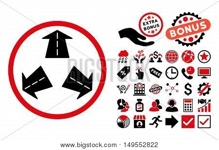 Road Directions icon with bonus pictures. Glyph illustration style is flat iconic bicolor symbols, intensive red and black colors, white background.