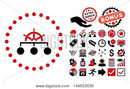 Rule pictograph with bonus pictograph collection. Glyph illustration style is flat iconic bicolor symbols, intensive red and black colors, white background.