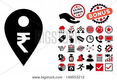 Rupee Map Marker icon with bonus pictogram. Glyph illustration style is flat iconic bicolor symbols, intensive red and black colors, white background.