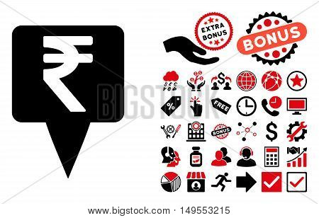Rupee Map Pointer icon with bonus images. Glyph illustration style is flat iconic bicolor symbols, intensive red and black colors, white background.