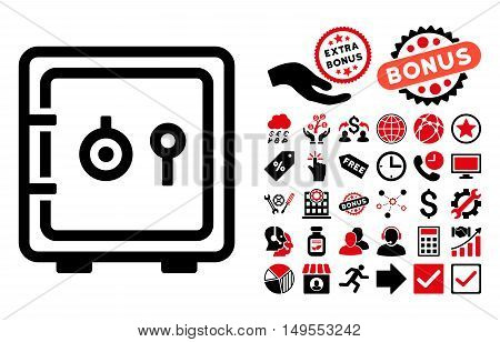 Safe pictograph with bonus pictogram. Glyph illustration style is flat iconic bicolor symbols, intensive red and black colors, white background.