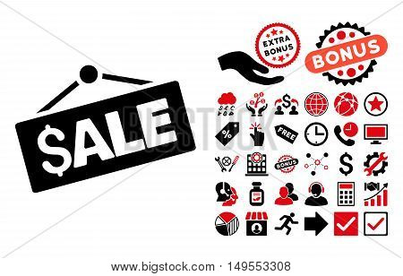 Sale Signboard icon with bonus elements. Glyph illustration style is flat iconic bicolor symbols, intensive red and black colors, white background.