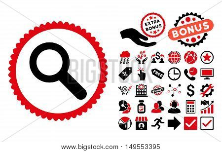 Search pictograph with bonus clip art. Glyph illustration style is flat iconic bicolor symbols, intensive red and black colors, white background.