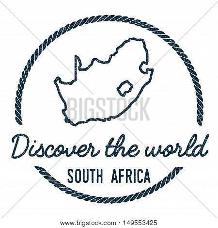 South Africa Map Outline. Vintage Discover The World Rubber Stamp With South Africa Map. Hipster Sty