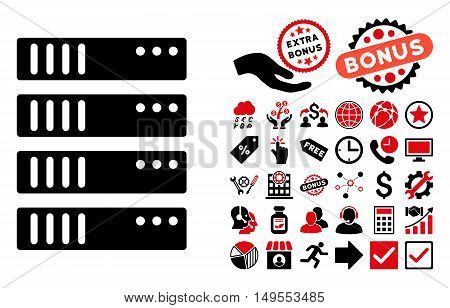 Server pictograph with bonus pictograph collection. Glyph illustration style is flat iconic bicolor symbols, intensive red and black colors, white background.