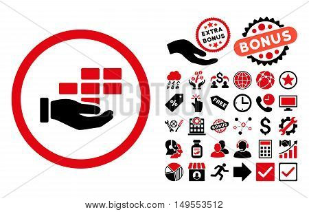 Service Schedule icon with bonus icon set. Glyph illustration style is flat iconic bicolor symbols, intensive red and black colors, white background.