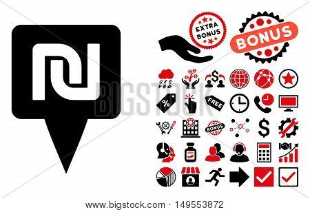 Shekel Map Pointer pictograph with bonus images. Glyph illustration style is flat iconic bicolor symbols, intensive red and black colors, white background.