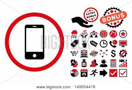Smartphone pictograph with bonus pictures. Glyph illustration style is flat iconic bicolor symbols, intensive red and black colors, white background.