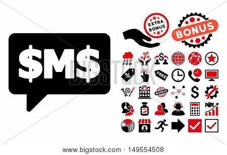 SMS Bubble icon with bonus icon set. Glyph illustration style is flat iconic bicolor symbols, intensive red and black colors, white background.