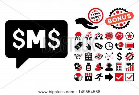 SMS Message icon with bonus pictures. Glyph illustration style is flat iconic bicolor symbols, intensive red and black colors, white background.