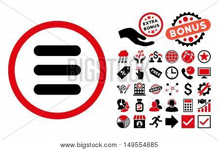 Stack icon with bonus symbols. Glyph illustration style is flat iconic bicolor symbols, intensive red and black colors, white background.