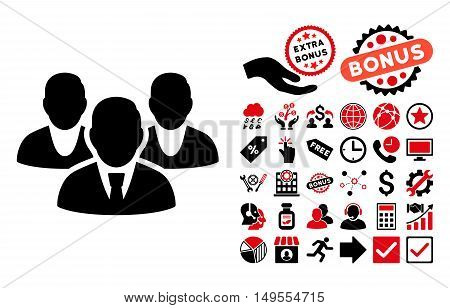 Staff icon with bonus icon set. Glyph illustration style is flat iconic bicolor symbols, intensive red and black colors, white background.
